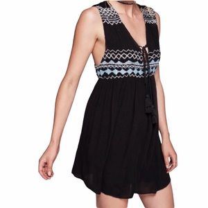 Free People Black Embroidered Simply Smock Dress